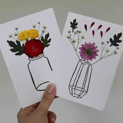 自制母亲节压花卡片 用干花做贺卡的方法图解