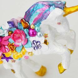 精美独角兽装饰品DIY 粘土雕塑改造做摆件