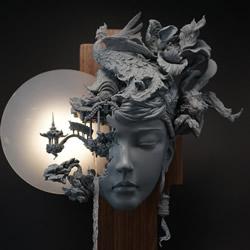 ��莅跷⑽⒁汇兜R的��泥塑作品:嫦娥�c桃花否则女