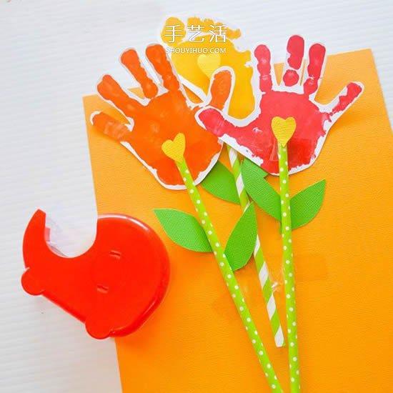 手掌脚掌印做卡片 创意有趣的母亲节贺卡DIY -  www.shouyihuo.com