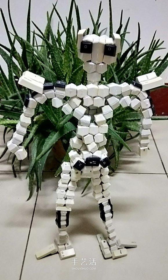 晚晨的创意DIY:废旧电脑键盘鼠标制作机器人 -  www.shouyihuo.com