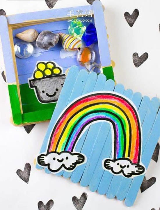 雪糕棍手工製作收納盒 DIY帶蓋方形收納盒做法