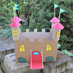 自制小城堡的方法图解 纸箱废物利用做城堡
