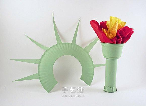 廢物利用手工製作自由女神像和火炬的方法