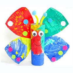 幼儿园纸盘蝴蝶的做法 卷纸筒手工制作蝴蝶