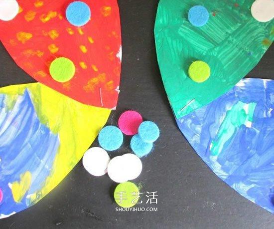 幼兒園紙盤蝴蝶的做法 捲紙筒手工製作蝴蝶