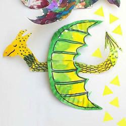 幼儿废物利用做纸盘火龙 简单手工西方龙的做法