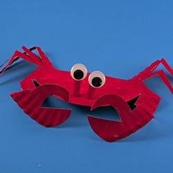 纸盘手工制作可爱小螃蟹 属于夏天的快乐手工!