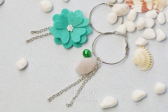 自製毛氈布和寶石耳環 特別的不對稱耳環製作