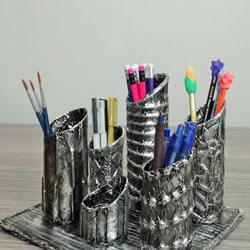 卷纸筒保鲜膜筒废物利用 手工制作多孔笔筒