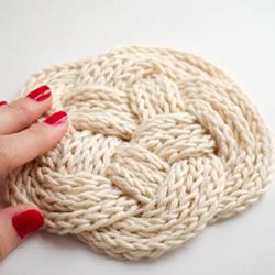 毛线绳子编织杯垫图解 就像是美丽的云朵!