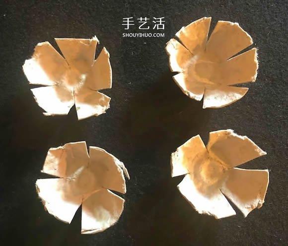 鸡蛋盒废物利用 手工制作玫瑰花胸花图解 -  www.shouyihuo.com