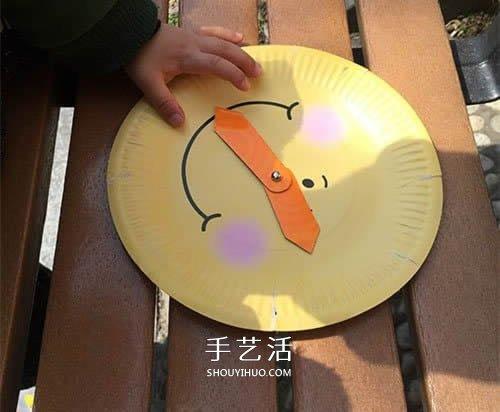 幼儿自制玩具纸盘挂钟的方法 好玩还能认时间 -  www.shouyihuo.com