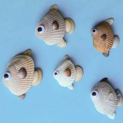 海边捡回的贝壳 手工拼贴可爱小鱼的图解教程