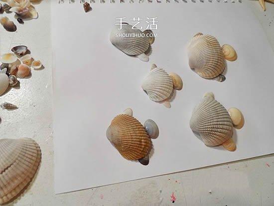 海边捡回的贝壳 手工拼贴可爱小鱼的图解教程 -  www.shouyihuo.com