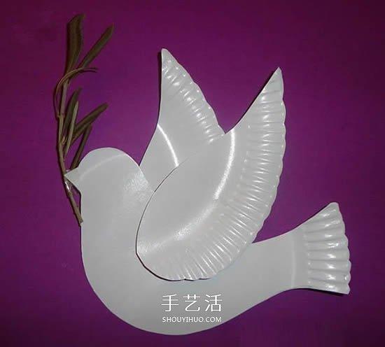 紙盤廢物利用 手工製作國慶節和平鴿的方法