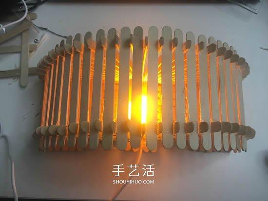 200根雪糕棍手工制作漂亮拱桥灯罩的方法教程 -  www.shouyihuo.com