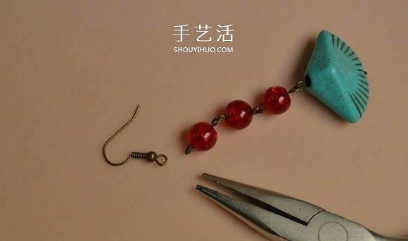 复古风格绿松石贝壳耳环的DIY制作图解教程 -  www.shouyihuo.com