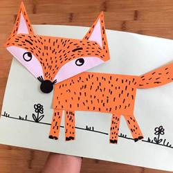 幼儿园手工狐狸纸贴画制作方法 简单又可爱!