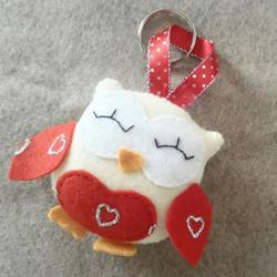 送男友的情人节礼物!自制布艺猫头鹰钥匙圈挂件