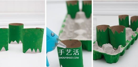 幼儿园用鸡蛋盒手工制作鳄鱼的方法教程 -  www.shouyihuo.com