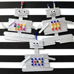 儿童简单自制雪糕棍机器人的手工制作教程
