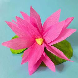 儿童手工制作皱纹纸莲花简单又漂亮