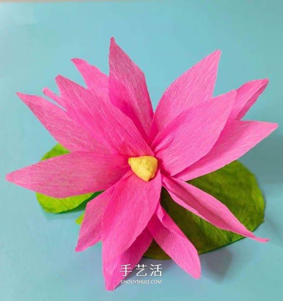 儿童手工制作皱纹纸莲花简单又漂亮 -  www.shouyihuo.com