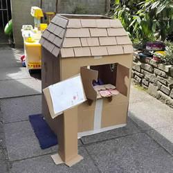 纸箱房子的制作教程 让孩子开一家披萨店