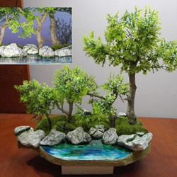 简单自制迷你池塘装饰摆件的制作方法教程