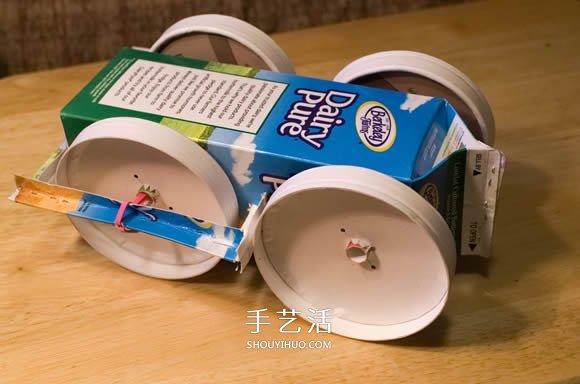 废物利用DIY制作橡皮筋动力玩具车的方法 -  www.shouyihuo.com