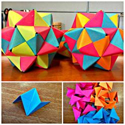 折纸二十面体的折法图解 漂亮的桌面装饰!