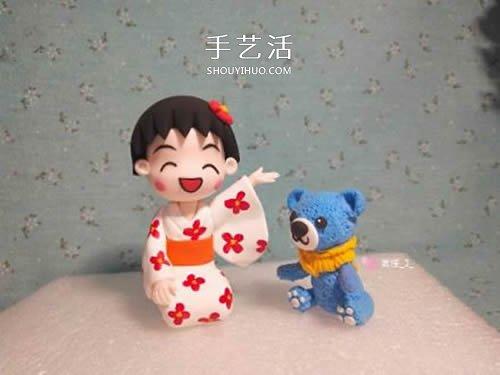 超轻粘土手工制作穿和服的樱桃小丸子手办 -  www.shouyihuo.com