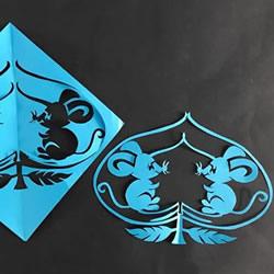 桃子里的老鼠!漂亮窗花的剪纸方法教程
