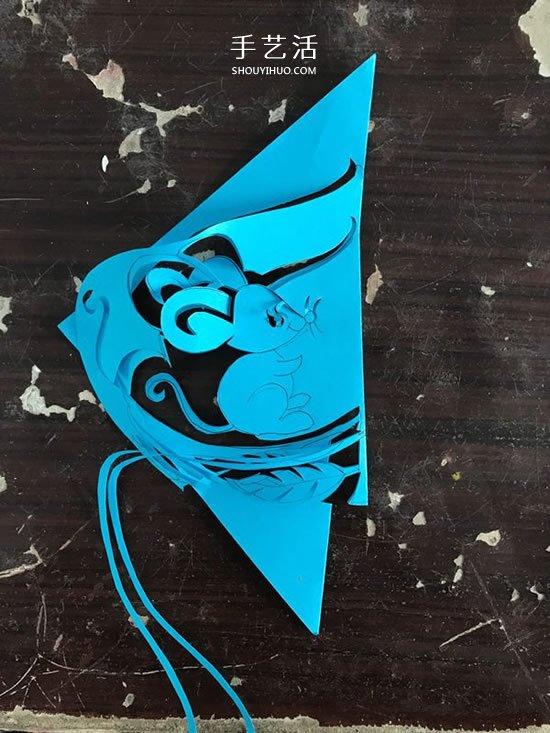 桃子里的老鼠!漂亮窗花的剪纸方法教程 -  www.shouyihuo.com