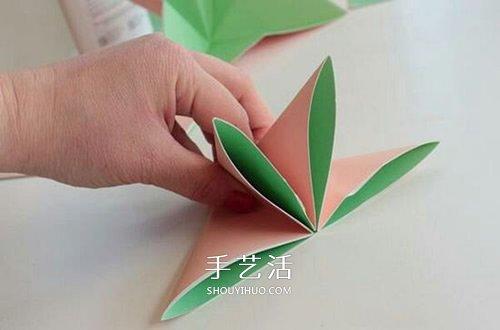簡單又漂亮紙花的折法圖解 有16個花瓣!