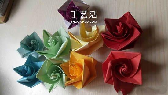 簡單又漂亮玫瑰花的摺紙方法圖解步驟