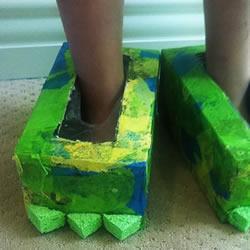 纸巾盒废物利用 手工制作万圣节怪物鞋