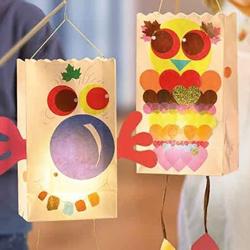 纸袋简单手工制作万圣节猫头鹰灯笼的方法