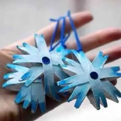 简单又美丽卷纸筒雪花挂饰手工制作教程