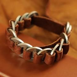金属垫圈DIY制作皮革手镯 送男友的好礼物!