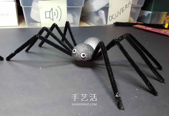 幼儿园简单万圣节蜘蛛的手工制作教程图解 -  www.shouyihuo.com