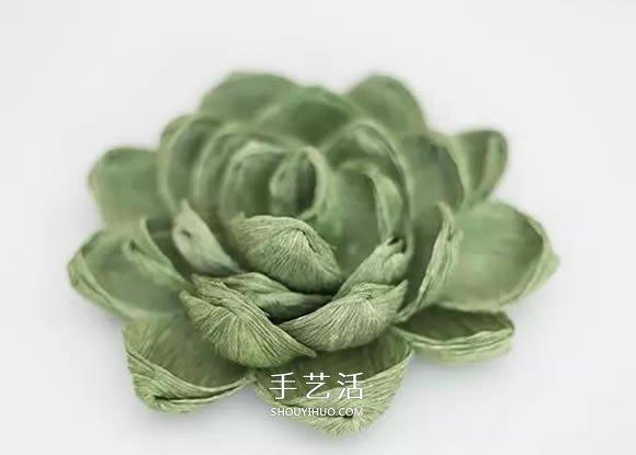 皱纹纸手工制作逼真多肉植物装饰摆件的方法 -  www.shouyihuo.com