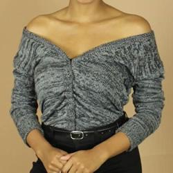 普通开衫毛衣改造 DIY露肩皱褶上衣的方法