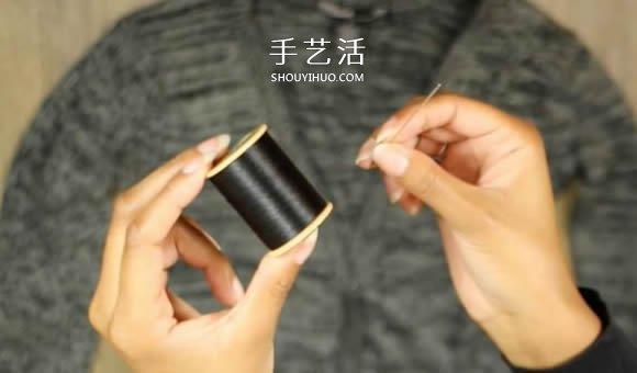 普通开衫毛衣改造 DIY露肩皱褶上衣的方法 -  www.shouyihuo.com