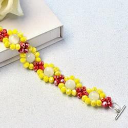自制红黄两色宝石手链的制作方法步骤图解