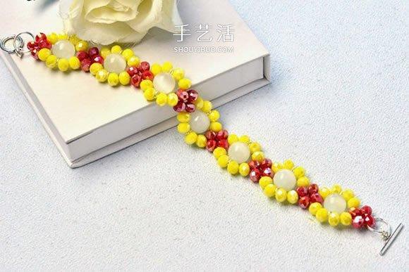 自制红黄两色宝石手链的制作方法步骤图解 -  www.shouyihuo.com