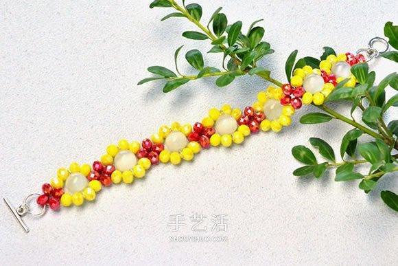 自製紅黃兩色寶石手鏈的製作方法步驟圖解