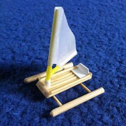 烤串竹签废物利用 手工制作迷你浮桥船的方法