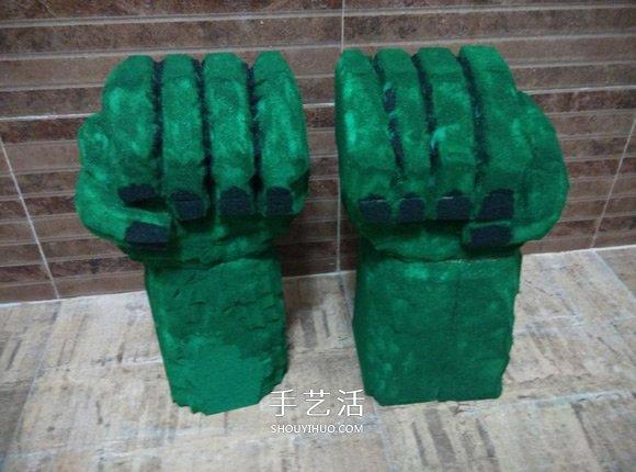 海绵手工制作绿巨人手套的方法 -  www.shouyihuo.com